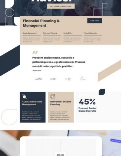 Financial Advisor Landing Page Web Template